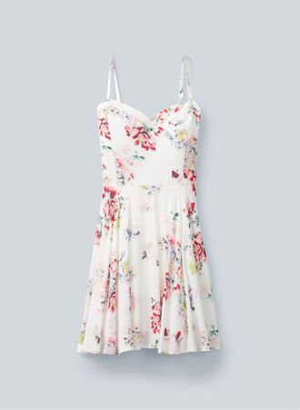dress summer summer dress floral dress flowers white bustier dress vintage beautiful gorgeous hat