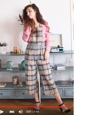 jumpsuit cute pretty sweet romper light pastel pink overalls peach loose baggy pants blouse sweater top shirt shoes girl marzia cutiepiemarzia plaid plaid jumpsuit