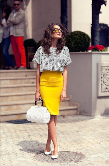 yellow skirt shirt