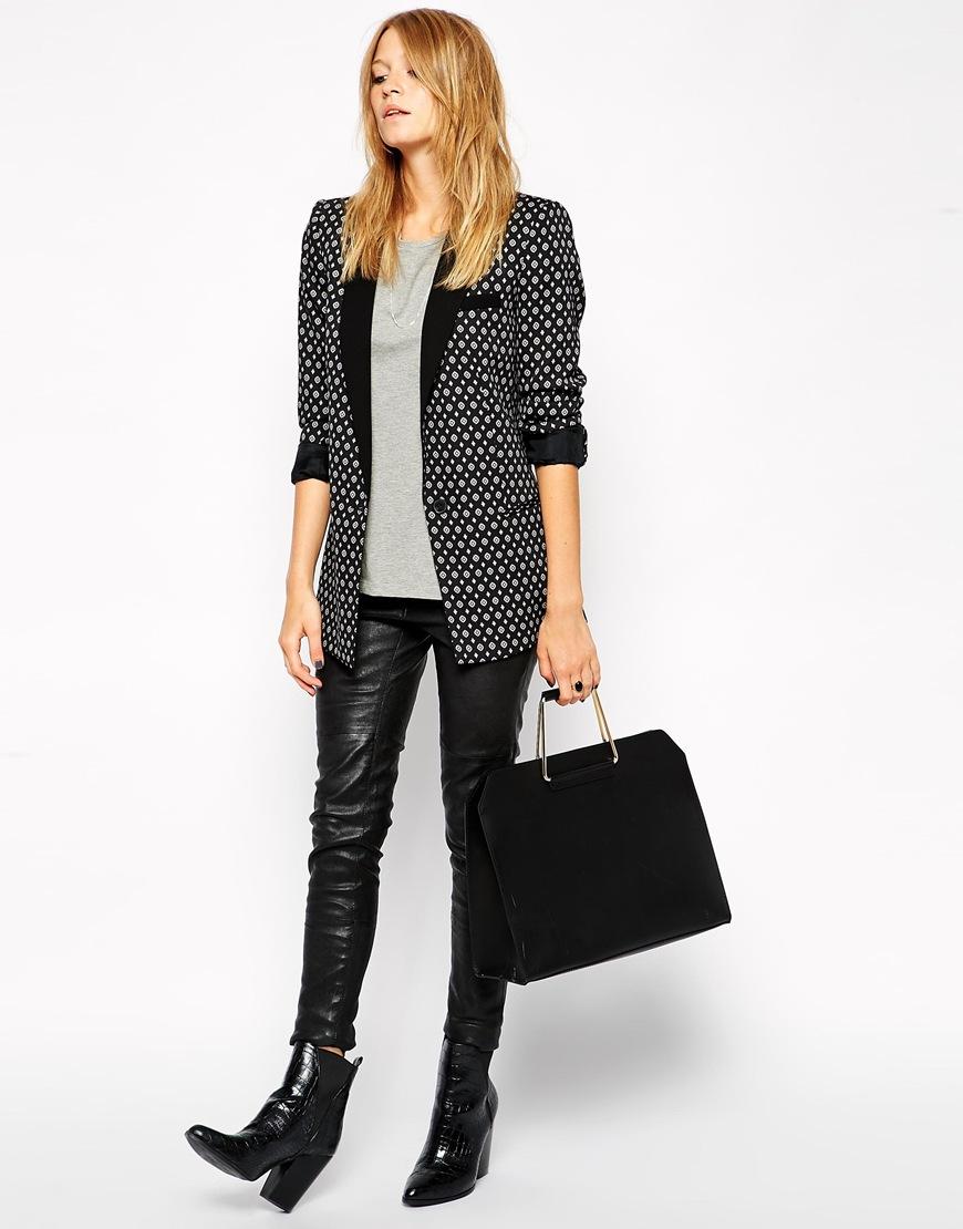 ASOS Leather Bag with Metal Handles at asos.com