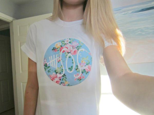 Floral 5sos shirt #5secondsofsummer #5sosmerch #shirt #floral #white #baggytee.