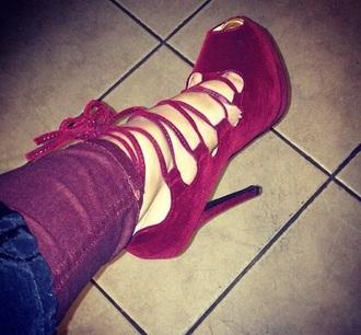 shoes burgundy velvet laces heels pumps