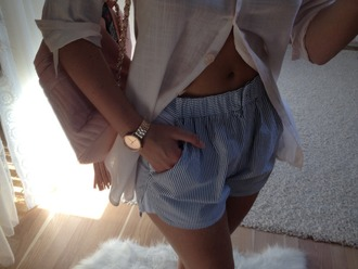 shorts stripes blue and white striped blue white top