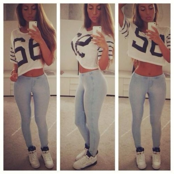 t-shirt crop tops number tee jeans white