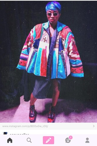 jacket multicolor coat dope shit vintage