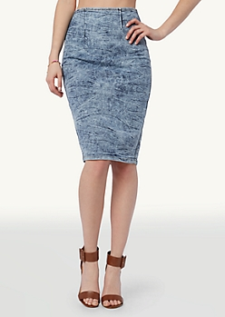 Acid Wash High Waisted Midi Skirt | Midi | rue21