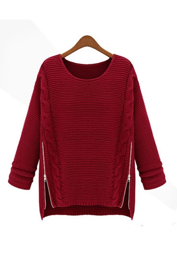 Inclined Zipper Design Loose Sweater [FKBJ10276]- US$29.99 - PersunMall.com