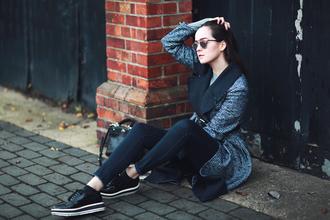 style scrapbook blogger coat bag sweater shoes jeans sunglasses