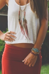 jewels,tank top,white tank top,red skirt,skirt,necklace,feathers,red long maxi dress skirt cut,thank top,jupe,rouge,bordeau,tube,shirt,summer outfits,summer top,summer,style,love,hippie,bright,fetch,fashion,orange,aztec,cute,pencil skirt,pattern,brown,fall colors,cuteness overload,jewelry,white top,clothes,boho,maxi skirt,foldover,fold over,burgundy,white,native american
