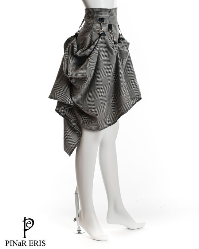 Steampunk gray black victorian rockability skirt
