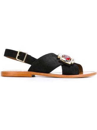 embellished sandals hair metal women embellished sandals leather black shoes