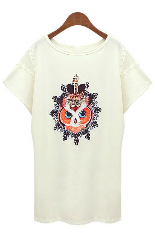 Kcloth owl with crown printed rivet summer tee