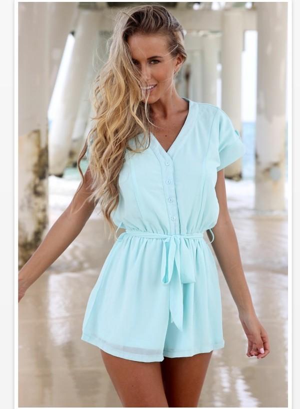 blouse romper light blue hot