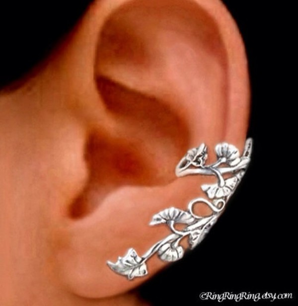 jewels ear cuff nature flowers leaves long silver
