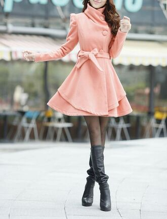 coat pink coat black tights black leather boots blogger