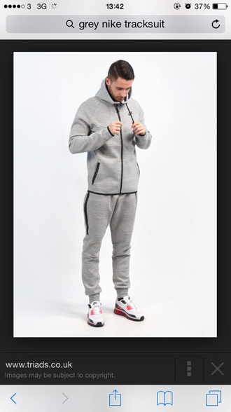 top nike tracksuit top grey zipper zip black t-shirt pants