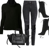 jeans,all black everything,outfit,blouse,shoes