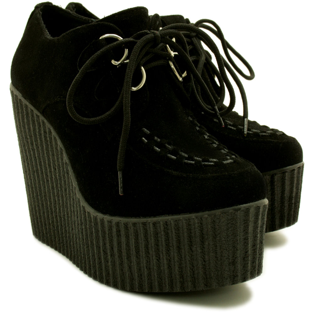 ab0f70b6bd5 new womens wedge heel creeper sneaker lace up platform shoes size