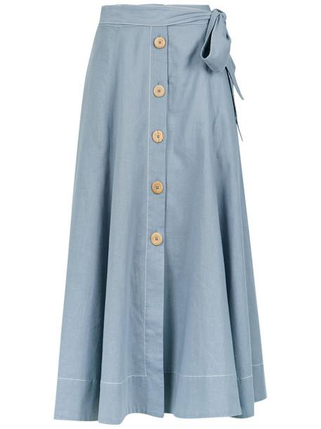 skirt midi skirt women midi cotton blue