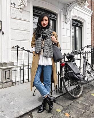 coat tumblr camel camel coat denim jeans blue jeans boots ankle boots scarf bag