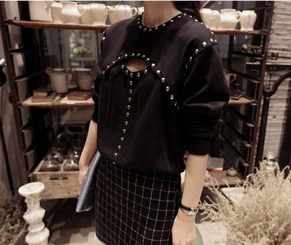 shirt black rivets clothes blouse i4out clothing fashion look lookbook open swag streetstyle
