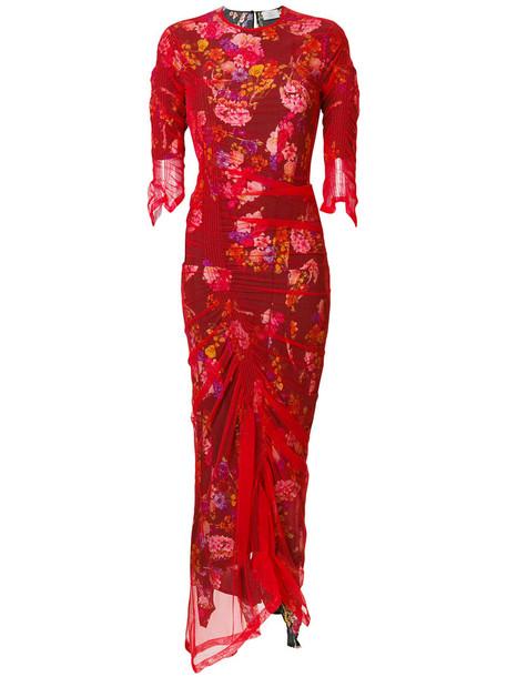PREEN BY THORNTON BREGAZZI dress tulle dress women spandex floral silk red