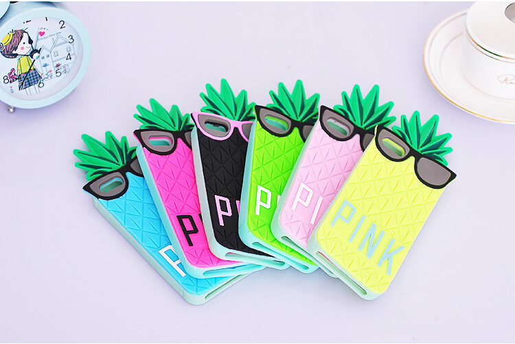 Victoria/s Secret PINK Case 3D Silicone Funny Fruit Pineapple Star's Love Soft Cell Phone Cover Shell for iPhone 4s 5s-in Phone Bags & Cases from Electronics on Aliexpress.com