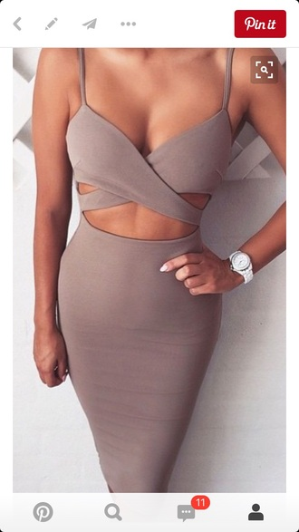 dress cut-out dress taupe bodycon dress midi dress