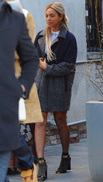 coat beyonce pea coat leather