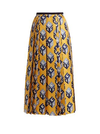 skirt midi skirt pleated midi print silk yellow