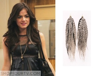 jewels prairie pheasant large black and white pheasant plume feathers earrings white black aria montgomery pretty little liars dress
