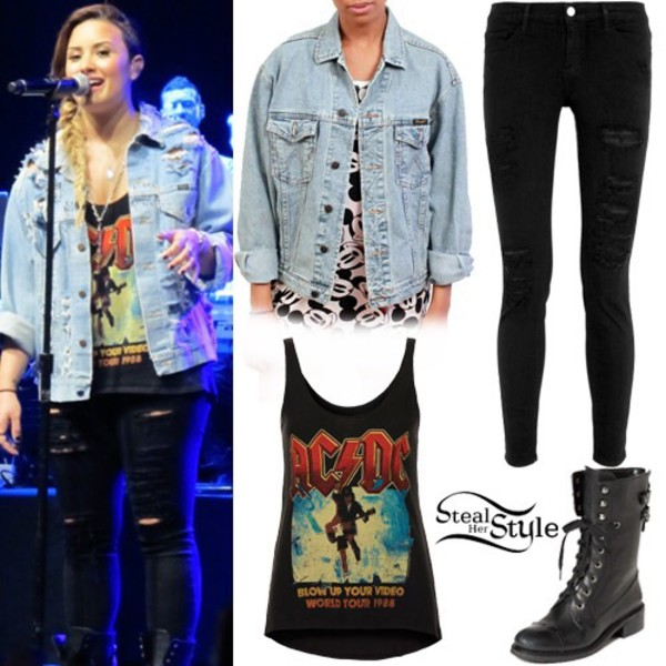 demi lovato, denim jacket, band t-shirt, jeans, jacket ...