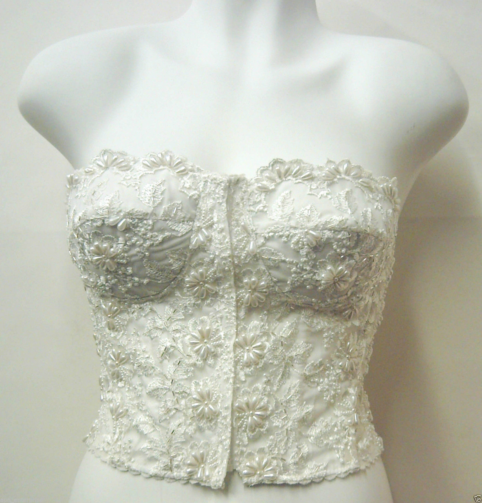 new style online store ever popular Pearl Beaded Lace Corset Bustier Top Blouse IVORY Bridal Evening Wear  Elegant