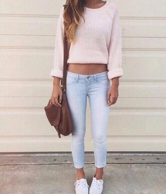 sweater jumper pink light pink cute love short white