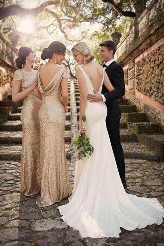 dress gold gold dress sequin dress gold sequins dress bridesmaid long bridesmaid dress backless dress long dress party dress long party dress prom dress
