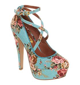 Office simple minds blue floral textile shoes