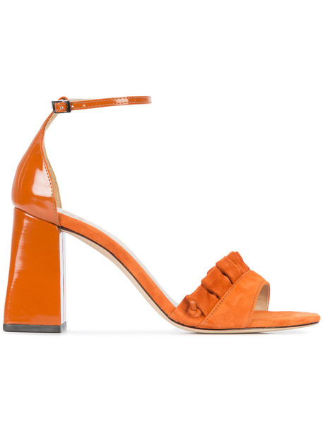women sandals leather suede yellow orange shoes