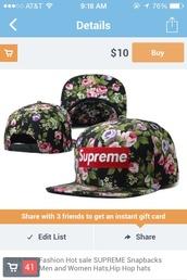 hat,supreme,snapback,snap backs,floral,floral hat,flowers,cap