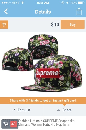 hat supreme snapback snap backs floral floral hat flowers cap