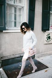 for all things lovely,blogger,sweater,bag,shoes,sunglasses,jewels,make-up,thigh high boots,shoulder bag,nude bag,Valentino,grey sweater,fall outfits