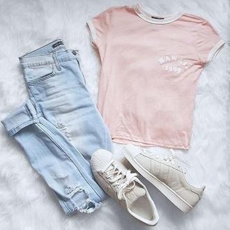 t-shirt baby pink pastel pastel goth grunge soft grunge kawaii jeans