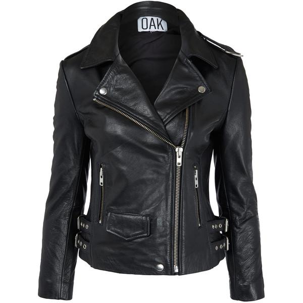 Oak Black Leather Biker Jacket