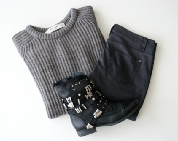 sweater black boots grey sweater shoes boots fall outfits