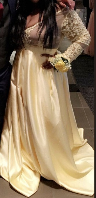 dress prom yellow lace long sleeves formal gown urgent clothes sheer a line prom gowns prom dress prom gown long dress