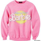 jacket,barbie,crewneck,sweater,pink,cartoon,faded