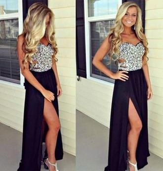 dress black dress sexy slit dress hot fashion strapless gown formal prom vanessawu black prom dress