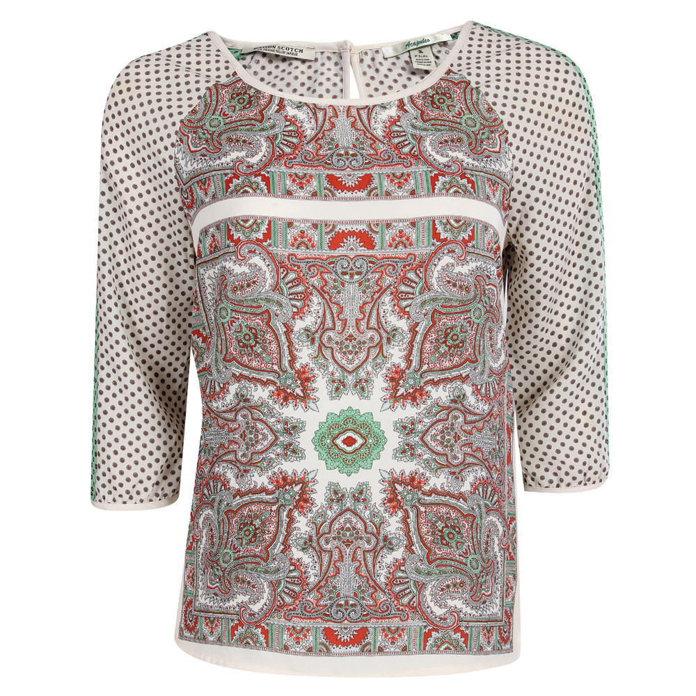 Womens Maison Scotch Paisley Pattern Satin T-Shirt