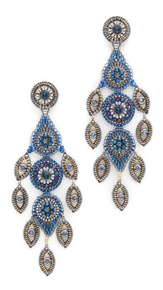 earrings gold blue jewels