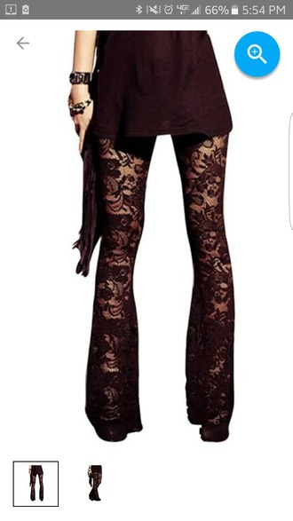 pants black lace flare floral