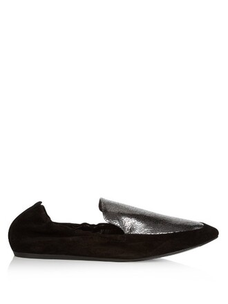 metallic loafers leather suede silver black shoes